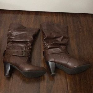 Madden girl perlie brown heel boots size 7